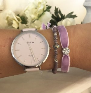 Oozoo Uhr flieder silber Leder Neu mit Schmuckarmbänder