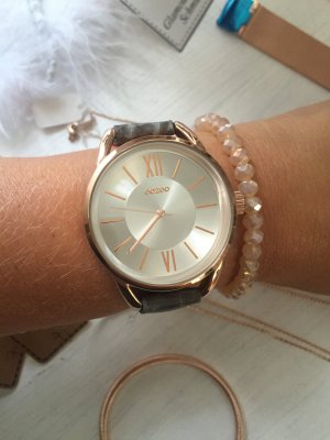 Oozoo Uhr goldrose Armbanduhr blau grau Perlmut
