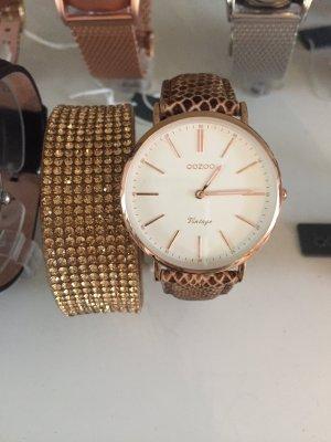 Oozoo Uhr goldrose rosegold Neu Damenuhr echt Leder mit Garantie
