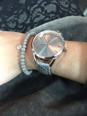 oozoo Uhr mit Lederarmband in rosé Gold grau metallic neu mit Garantie