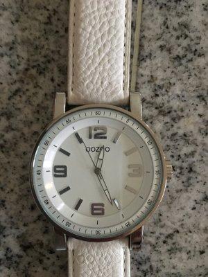 OOZOO Uhr mit weißem Lederarmband