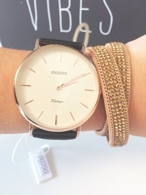 Oozoo Uhr rosegold echt Leder, Neu mit Garantie Damen Armbanduhr