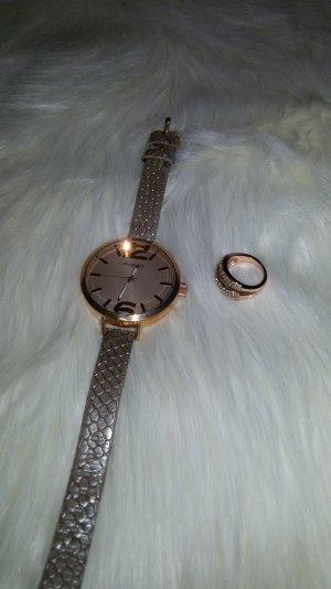 Oozoo Uhr rosegold mit passendem Ring