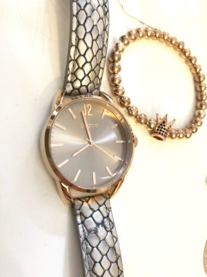Oozoo Uhr rosegold taupe grau metallic mit Armband Krönchen