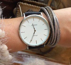 Oozoo Uhr schwarz echt Leder Neu! mit Schmuckarmand oder ohne