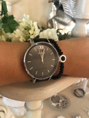 Oozoo Uhr schwarz silber echt Leder Lederarmbanduhr