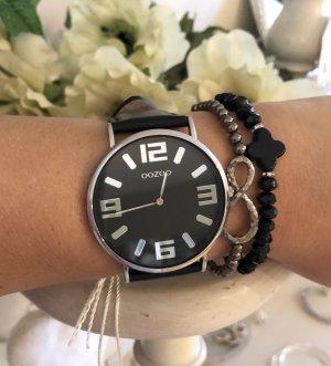 Oozoo Uhr schwarz silber mit Garantie Neu
