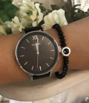 Oozoo Uhr schwarz silber Neu echt Leder