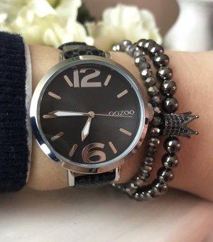 Oozoo Uhr silber schwarz Echtleder Uhr Armbanduhr