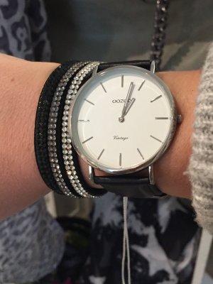 Oozoo Uhr silber schwarz Neu mit Garantie echt Leder