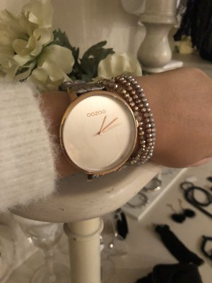 Oozoo Uhr taupe rosegold Neu mit Garantie echt Leder metallic