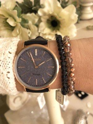 Oozoo Uhr Vintage Serie flach Echtleder Uhr Armbanduhr rosegold