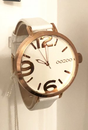 Oozoo Uhr weiss rosegold Echtleder Uhr Armbanduhr
