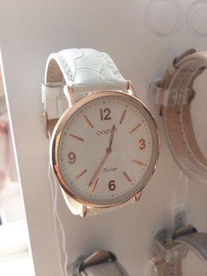 Oozoo Uhr weiss rosegold Leder Armbanduhr rose