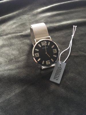 Oozoo Horloge met metalen riempje zwart-zilver