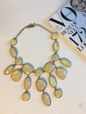 Opal Regenbogen Statement Kette Gold