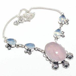 Opal & Rosenquarz Kette 925 Sterling Silber WIE NEU