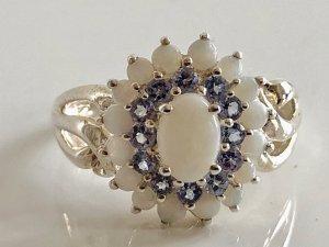 Modern vintage Zilveren ring veelkleurig