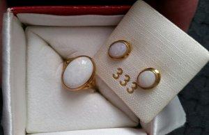 Gold Ring dark yellow-white real gold