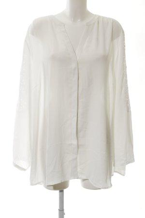 Open End Hemd-Bluse weiß Steppmuster Elegant