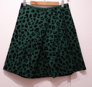 OPENING CEREMONY JAPAN Green Cotton Flock Leopard Print A-Line Mini Skirt Rock
