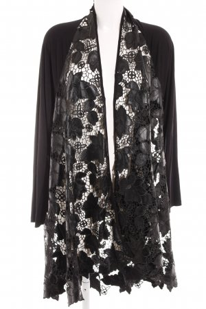 OPHILIA Cardigan noir motif de fleur style décontracté