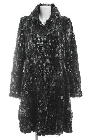 OPHILIA Übergangsmantel schwarz-silberfarben abstraktes Muster