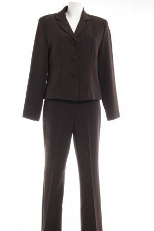 Oppose Trouser Suit dark brown pinstripe business style