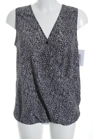 Opus ärmellose Bluse grau-schwarz Blumenmuster Casual-Look