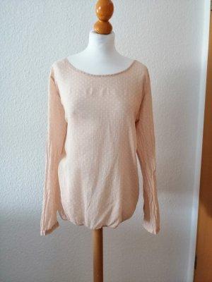 Opus Bluse rosé weiß apricot Punkte Schleife Shirt Langarmbluse rose