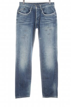 Opus Boot Cut Jeans blau Used-Optik
