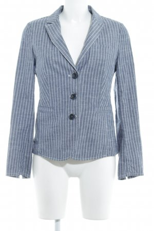 Opus Boyfriend Blazer white-cornflower blue striped pattern dandy style