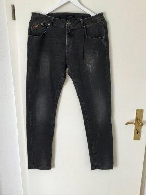 Opus Boyfriend Jeans dunkelgrau Used Look