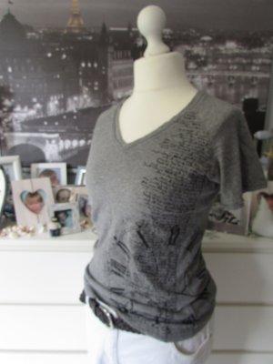 Opus * Edles V-Shirt * grau-schwarz Print+Glitzer * 42/44 TOP