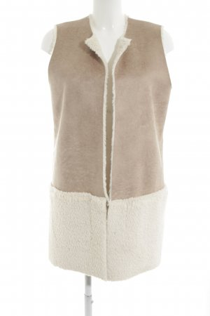 Opus Fur vest cream-beige material mix look