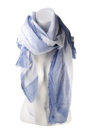 Opus Sjaal met franjes korenblauw-azuur batik patroon hippie stijl