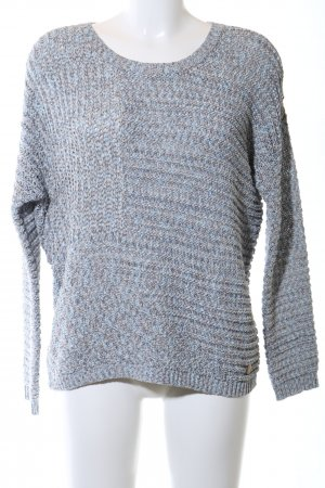 Opus Coarse Knitted Sweater blue-light grey flecked casual look