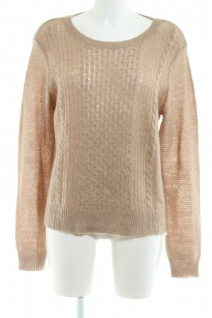 Opus Grobstrickpullover wollweiß Zopfmuster Casual-Look