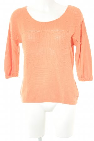 Opus Häkelshirt orange Lochstrickmuster Casual-Look