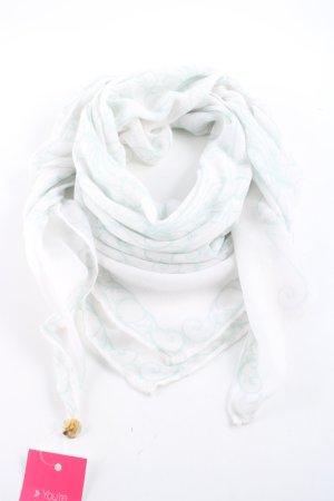 Opus Fazzoletto da collo bianco-turchese modello misto stile casual