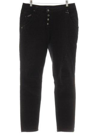 Opus Lage taille broek zwart casual uitstraling
