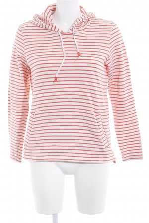 Opus Hooded Sweater cream-salmon striped pattern casual look