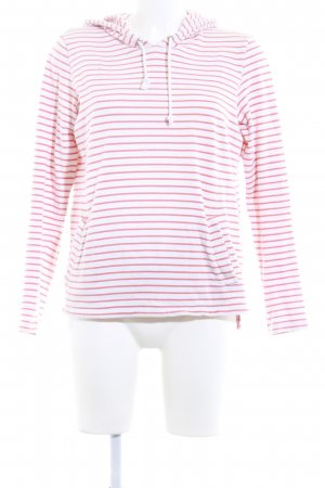 Opus Hooded Sweater natural white-salmon striped pattern casual look