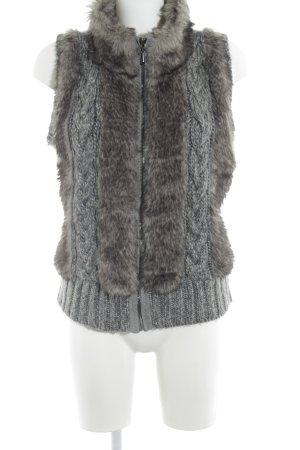 Opus Gilet en fausse fourrure gris-gris brun torsades style décontracté