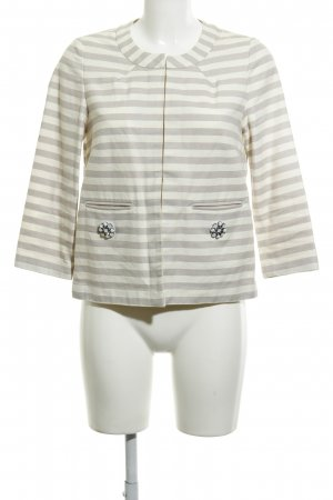 Opus Blazer corto crema-marrone-grigio motivo a righe stile casual