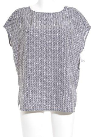 Opus Kurzarm-Bluse dunkelgrau-weiß abstraktes Muster Casual-Look