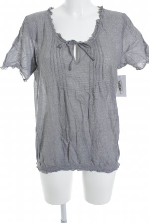 Opus Short Sleeved Blouse white-dark grey houndstooth pattern casual look