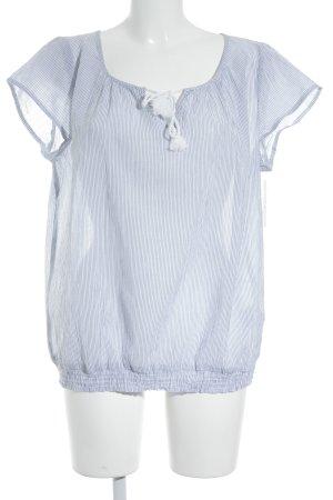 Opus Kurzarm-Bluse weiß-himmelblau Streifenmuster schlichter Stil