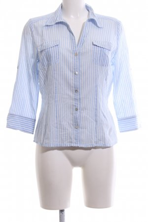 Opus Short Sleeve Shirt blue-white striped pattern business style