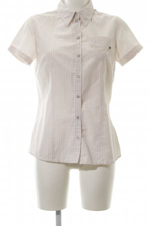 Opus Short Sleeve Shirt natural white-cream check pattern casual look